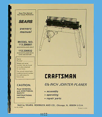 craftsman jointer model 113.206932 owners manual