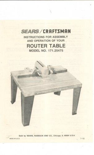 manual for craftsman router table model 925444